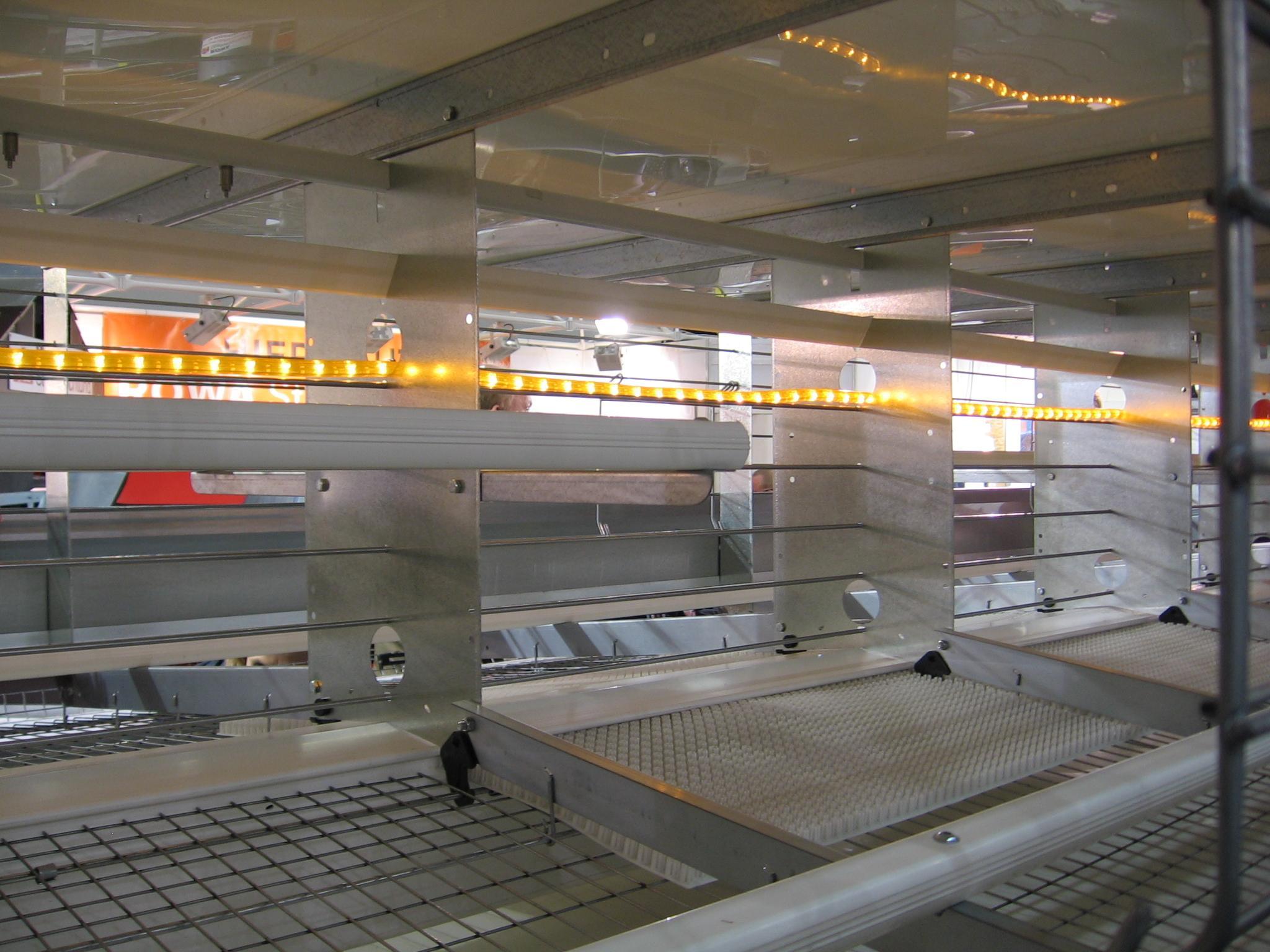 Светодиодное освещение в клетке для несушки компании Hellmann